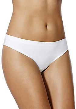 F&F Bonded Lace Back No VPL Brazilian Briefs - White