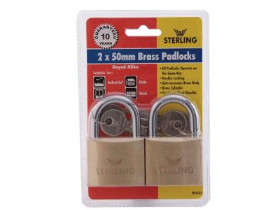 Sterling Brass Padlock - 50mm 2 in a Pack