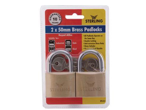Sterling Brass Padlock - 50mm 2 in a Pack