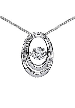 Rhodium Plated Sterling Silver Round Brilliant Cubic Zirconia Solitaire Pendant Necklace 18 inch