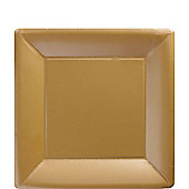 Gold Square Paper Dessert Plates 17.7cm, Pack of 20
