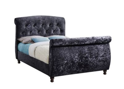 Happy Beds Toulouse Black Velour Fabric Sleigh Bed Membound Memory Foam Mattress 4ft6 Double