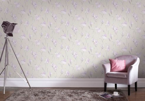 Boutique Iris Embossed Floral Grey/Lilac Wallpaper