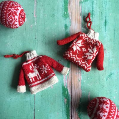 Set of Two Knitted Jumper Christmas Decorations