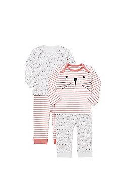 F&F 2 Pack of Cat Print Pyjamas - White & Pink