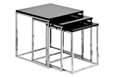 Premier Housewares 3 Piece Nest of Tables - Black High Gloss