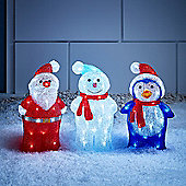 Trio Of Light Up Christmas Figures