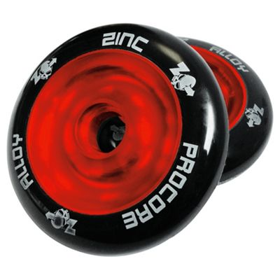 Pro Core 2 x 100mm Solid Cast Alloy High-Bounce Scooter Wheels, Red