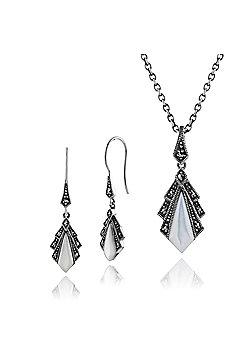 Gemondo 925 Sterling Silver Art Deco Mother of Pearl & Marcasite Drop Earrings & 45cm Necklace Set