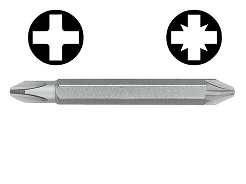 Witte Double Ended Screwdriver Bit Pozi / Phillips (Card of 3)