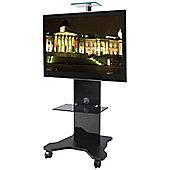 B-Tech BTF820 Black Cantilever TV Stand with Castors