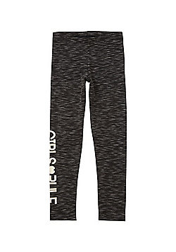 F&F Foil Print Slogan Space Dye Leggings - Dark grey