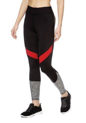 F&F Active Colour Block Leggings Red/Multi XS