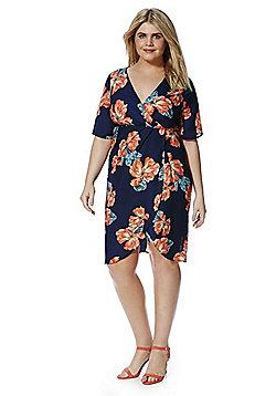 Lovedrobe Tropical Print Plus Size Wrap Dress - Navy