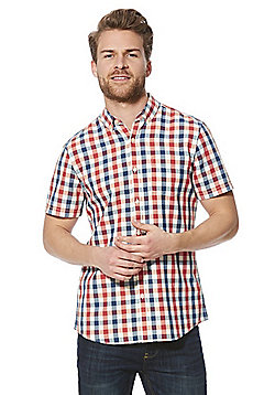 F&F Buffalo Check Short Sleeve Shirt - Orange