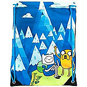 Adventure Time Jake And Finn Blue Mountain Drawstring Gym Bag, Blue (ci3563adv) - Accessories