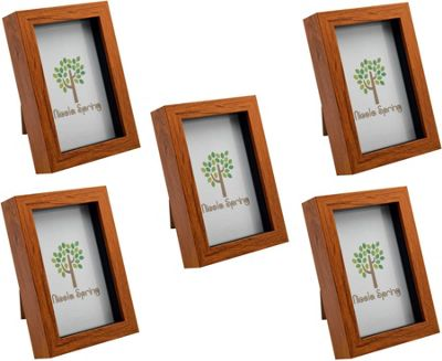Dark Wood Effect 4x6 Box Photo Frame - Standing & Hanging - Pack of 5