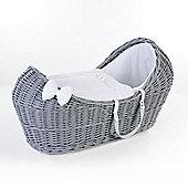 Ginnini Grey Pod Moses Basket (Waffle White)
