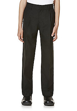 "F&F School 2 Pack of Boys Teflon EcoElite""™ Flat Front Slim Leg Trousers - Black"