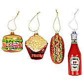 Complete Set - Novelty Fast Food Glass Christmas Tree Bauble Decorations
