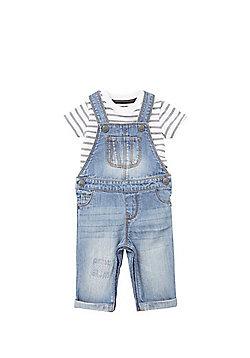 F&F Striped Bodysuit and Denim Dungarees Set - White & Blue