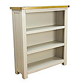 Wellington Painted Grey Oak Bookcase / Low Wide Bookcase with Solid Oak Top