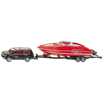 Car With Motorboat - 1:55 Scale - Siku