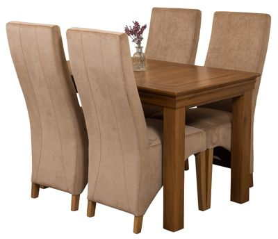 French Rustic 120cm Solid Oak Dining Set Table and 4 Beige Fabric Chairs