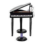 Homcom 37 Keys Kids Mini Electronic Keyboard Grand Piano w/ Stool Microphone Light Musical Instrument (Black)