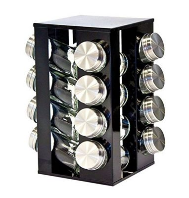 SQ Professional Gems Revolving Metallic Spice Rack with 16 Jars - Onyx