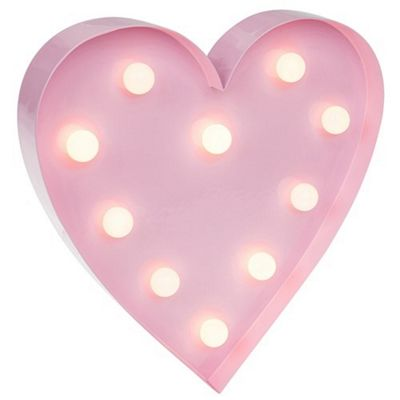 Love Lights LED Pink Heart Light Battery Operated Novelty Lamp