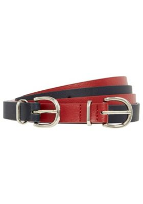 F&F 2 Pack of Skinny Waist Belts Red/Navy M