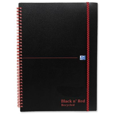 Black n Red Wirebound Elasticated Notebook A5 Polypropylene 140 Pages Feint Recycled 846350963 (5 Pack)
