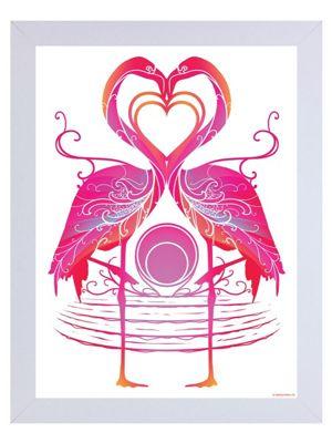 Flamingo Sunrise White Wooden Framed Mini Poster 35 x 42cm