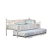Comfy Living 2ft6 Small Single Everyday Day Bed in White TRUNDLE INCLUDED