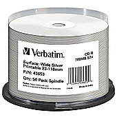 Verbatim CD-R Wide Silver Inkjet Printable Pack