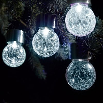 Set of 6 Solar Hanging Crackle Ball Globe Lights Outdoor Garden Party White LED