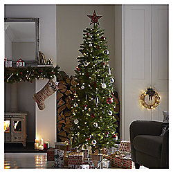 65ft Pre Lit Greenwood Fir Slim Christmas Tree 250 Warm White Leds