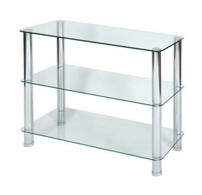 LEVV 3 Tier Clear Glass Shelving Unit With Chrome Legs