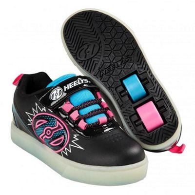 Heelys POW Lighted Black/Neon Blue/Neon Pink Kids Heely X2 Shoe JNR 11