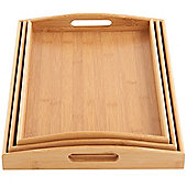 VonShef Set of 3 Bamboo Serving Trays
