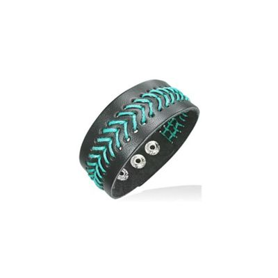 Urban Male Black Leather Wristband Bracelet with Blue Stitch For A Man 25mm