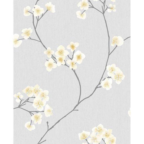 Superfresco Easy Radiance Paste The Wall Oriental Blossom Grey/Ochre Wallpaper