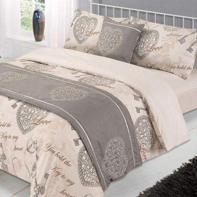 Antoinette Complete Bed in a Bag Duvet Set Natural Hearts, Single