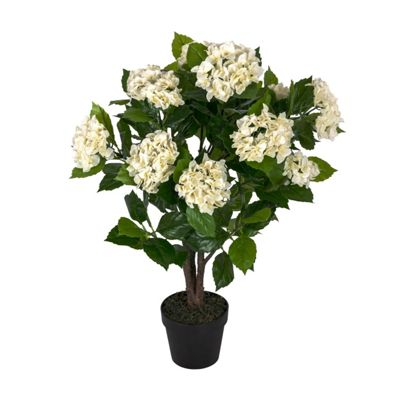 Homescapes Cream Hydrangea Artificial Plant with Pot, 85 cm