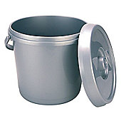 Whitefurze Bucket With Lid, 14L (3 gallons) Silver
