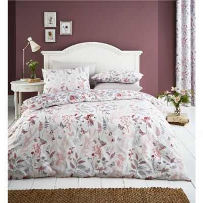 Catherine Lansfield Botanical Gardens Coral Duvet Cover Set - Single