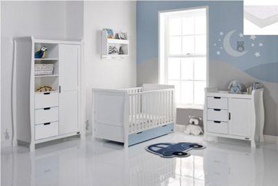 Obaby Stamford Cot Bed 4 Piece Sprung Mattress Nursery Room Set - White/Blue