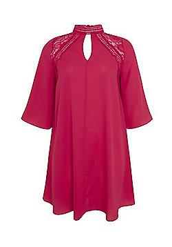 Lovedrobe Lace High Neck Plus Size Dress - Pink