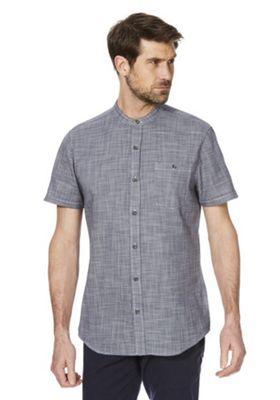 F&F Woven Grandad Collar Short Sleeve Shirt Blue 3XL